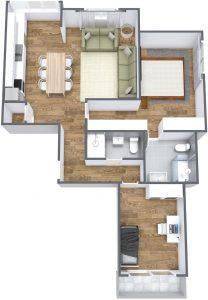 T2 JMJ - 1. Floor - 3D Floor Plan
